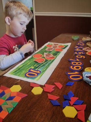 Allison Gentala's son during a home school day.