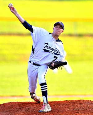 York Township's James Striebig pitches against Windsor during Susquehanna League baseball action at Shryock Field in York Township, Wednesday, Aug. 5, 2020. York Township would win the game 1-0. Dawn J. Sagert photo