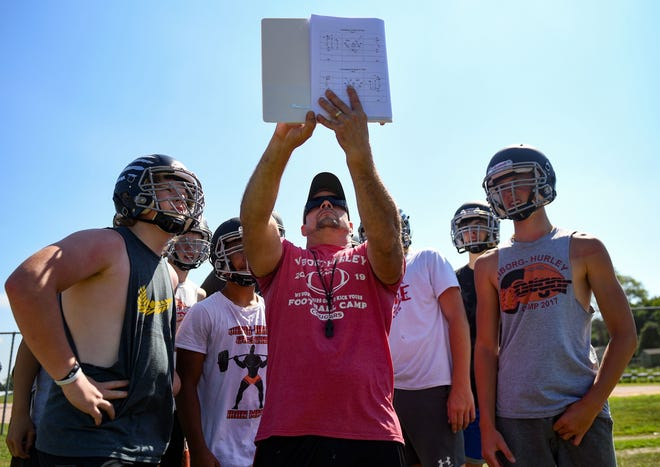Rob Kessler, coach of the Viborg-Hurley high school football team, explains an offensive play during practice on Thursday, August 6, in Viborg.