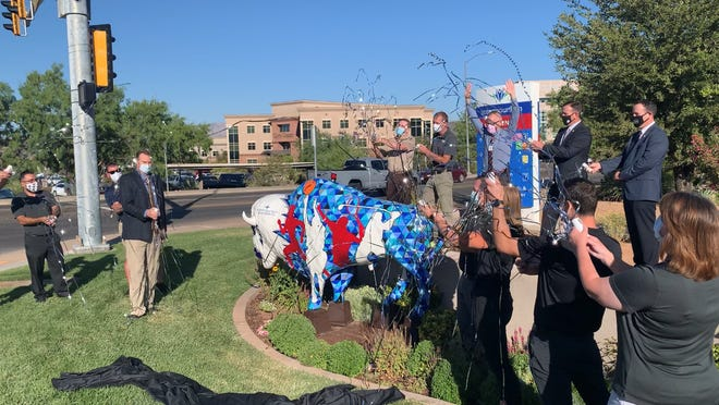 """""""Blaze"""" the bison is now grazing at Intermountain Dixie Regional Medical Center."""