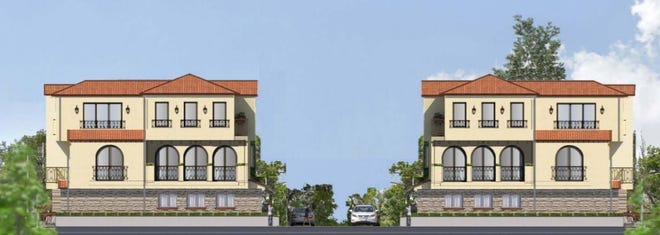 A rendering of the proposed 25-unit townhome project on Patricia Avenue in Simi Valley. The Planning Commission recommended approval of the project to the City Council on Aug. 5.