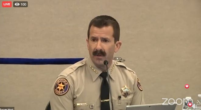 In a screenshot of a Zoom meeting, Ventura County Sheriff Bill Ayub speaks at a forum Wednesday on the intersection of race and policing.