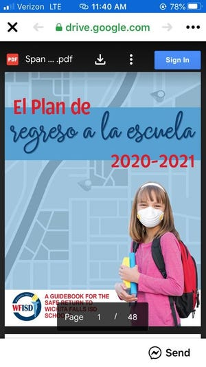Cover of WFISD Spanish-language back-to-school plan