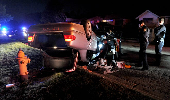 Wichita Falls police responded to a report of a rollover accident in the 1400 block of Red Fox Road Wednesday night where a vehicle had reportedly struck another car before it rolled over. One person was treated on scene for minor injuries.