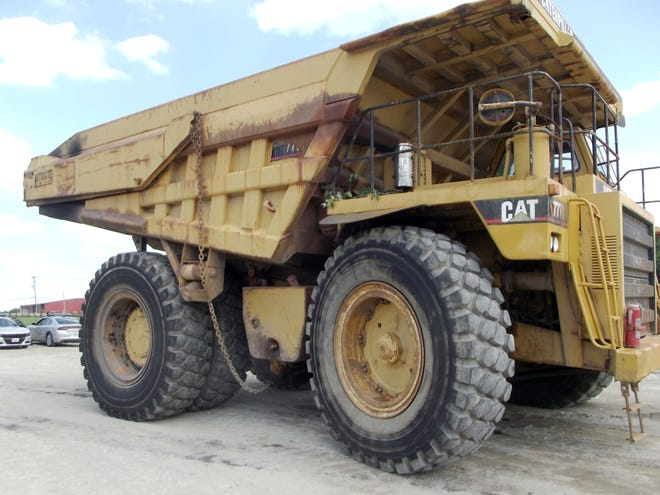 David Ford, 54, of Nashport, was observed by Ohio State Highway Patrol troopers driving this off road Caterpillar dump truck on U.S. 22 near Airport Road. It violated multiple state laws, as the vehicle surpassed the legal height, width and weights to be legal. He was cited with reckless operation of a motor vehicle.