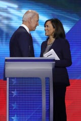 Former Vice President Joe Biden and Sen. Kamala Harris of California at the Democratic debate in 2019 in Houston.