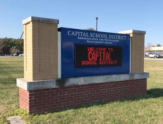 File photo of Capital School District sign and administration offices.