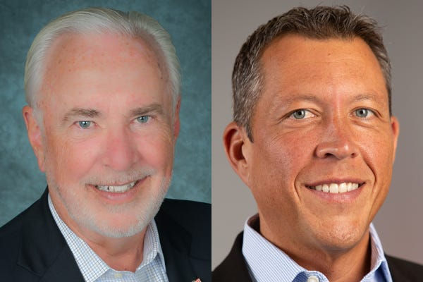 Former Manatee County Adminstrator Ed Hunzeker, left, lost to real estate professional George Kruse in the GOP primary for a Manatee County Commission seat.