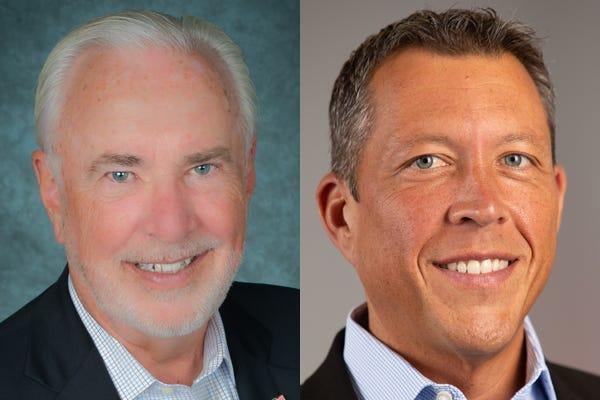Manatee County Commission candidates Ed Hunzeker, left, and George Kruse.