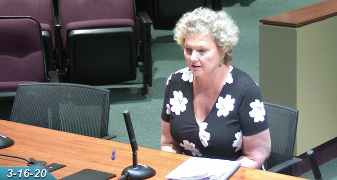 The city of Sarasota's finance director Kelly Strickland at a commission meeting in March. A complaint filed with the U.S. Equal Employment Opportunity Commission accuses Strickland of discriminatory hiring practices. [COURTESY OF THE CITY OF SARASOTA]