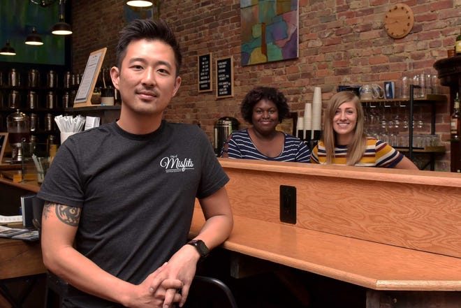 Josh Choi, owner of Winterbloom Tea, and two of his baristas, Kayla Brown and Annie Patrick, are ready to celebrate First Friday again, giving people more reasons to head downtown. [Ed Clemente/For The Fayetteville Observer]
