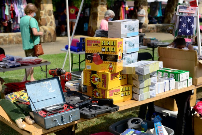 Items for sale are on display on Aug. 6, 2020, at Noccalula Falls Park in Gadsden at the start of the 2020 World's Longest Yard Sale. This year's sale begins Thursday, Aug. 5. [Michael Rodgers/The Gadsden Times]