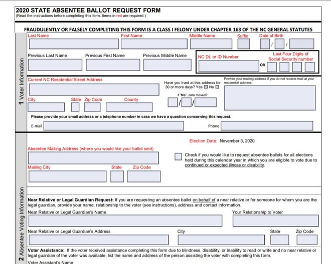 The deadline to return a completed Absentee Ballot Request Form is 5 p.m. Tuesday, Oct. 27, 2020. Absentee ballots will be mailed out starting Sept. 4, 2020. Returned absentee ballots must be postmarked on or before Tuesday, Nov. 3, 2020, and received by Friday, Nov. 6, at 5 p.m.