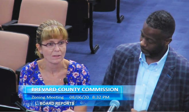 CareerSource Brevard officials Judy Blanchard, vice president of industry relations, and Thomas LaFlore, manager of industry relations, answer questions from Brevard County commissioners on Thursday night.