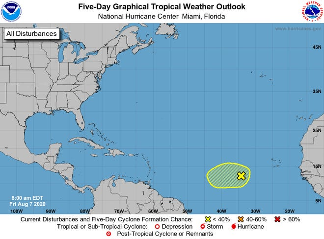 A new area of interest has been identified by the NAtional Hurricane Center as of Aug. 7, 2020.