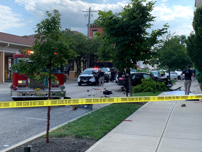 One person being arrested after the fatal crash outside The Press on Monmouth in Newport on Aug. 7, 2020.