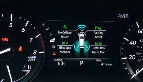 Display of Toyota Highlander driver assistance features