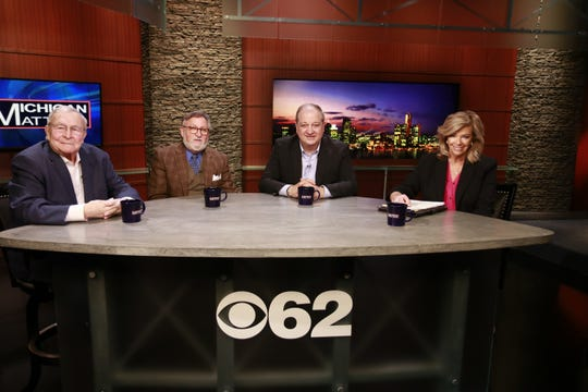 "From left, L. Brooks Patterson, Mike Brennan and Milan Stevanovich with Free Press Columnist Carol Cain on CBS 62's ""Michigan Matters"" on March 31, 2019."