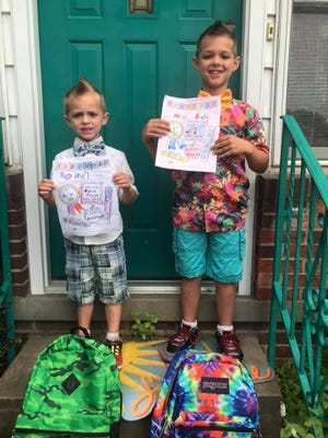 First-day fauxhawks for Miles, ready for third grade, and Owen, ready for Pre-K in August 2019.