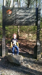 Luke Akard is shown on his very first hike in the Great Smoky Mountains National Park in 2012 shortly after he turned 4.