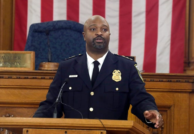 Assistant Chief Michael Brunson was sworn in Friday as acting Milwaukee police chief.