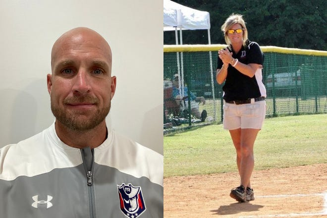 Left, former Alabama player Allen Ponder is head baseball coach at Pike Road High School, and Patricia Ball will coach Pike Road's varsity softball team.