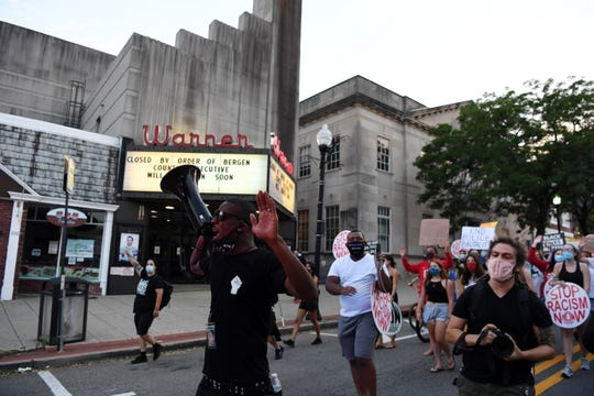 Marchers on East Ridgewood Avenue after a teach-in hosted by Ridgewood for Black Liberation on Thursday, August 6, 2020.