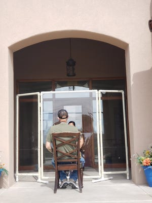 Two Plexiglas partitions have already been constructed at Haciendas at Grace Village in preparation for in-person visits.