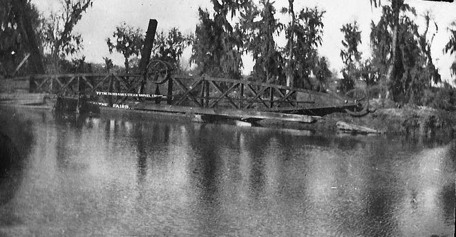 Dredging Bayou Carron for the Schell Canal Project in c. 1907-08.