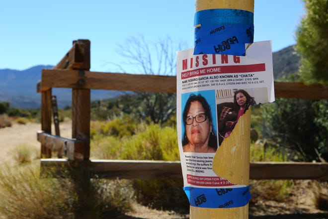 Rosario Garcia, 73, of Hemet has been missing since July 7 when she left home to go visit a family member a couple of houses down from hers, but the family member wasn't home. A few days later her car was found abandoned at the Sawmill Trailhead in Mountain Center. A flyer, likely torn from the wind, is photographed at the trailhead on August 7, 2020.