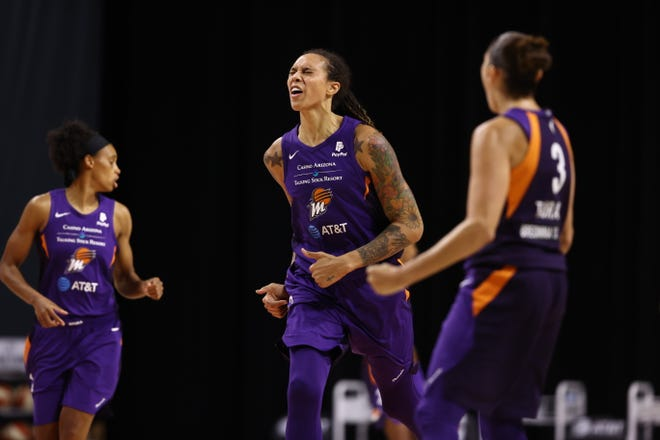 PALMETTO, FL - AUGUST 6: Brittney Griner #42 of the Phoenix Mercury celebrates during the game against the Chicago Sky on August 6, 2020 at Feld Entertainment Center in Palmetto, Florida.