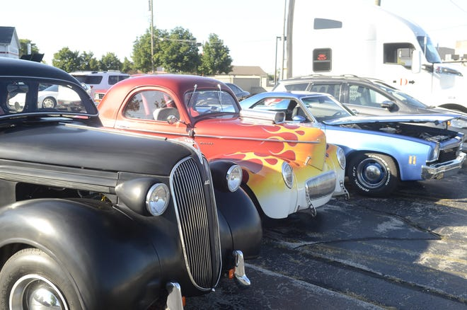 A line of cars sits on display at the Big Boy restaurant on 24th Avenue in Fort Gratiot on Aug. 7, 2020.