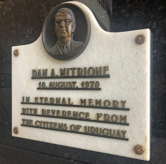 This plaque in the rotunda of the Richmond Municipal Building honors Dan Mitrione, a former chief of the Richmond Police Department who was murdered in Uruguay 50 years ago.
