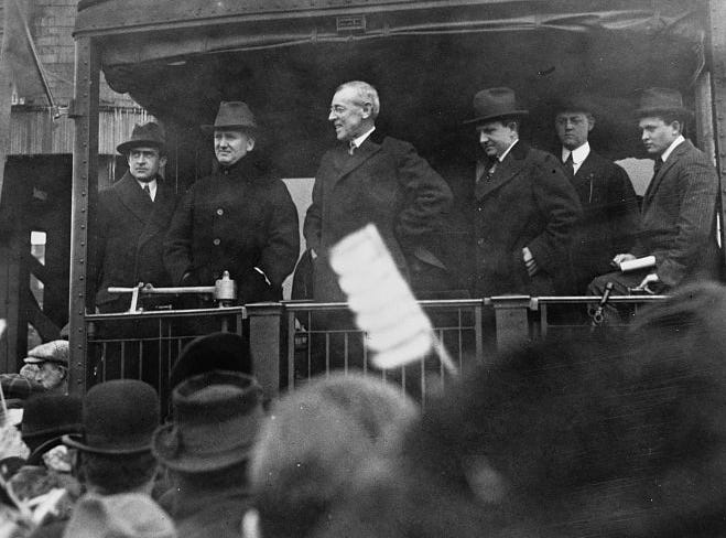 President Woodrow Wilson stopped twice at the Richmond depot. The first time, on Oct. 11, 1916, he saved a Richmond man's life there. The second time, on Sept. 14, 1919, he shook the hands of Wayne County men and women reeling in the aftermath of World War One.