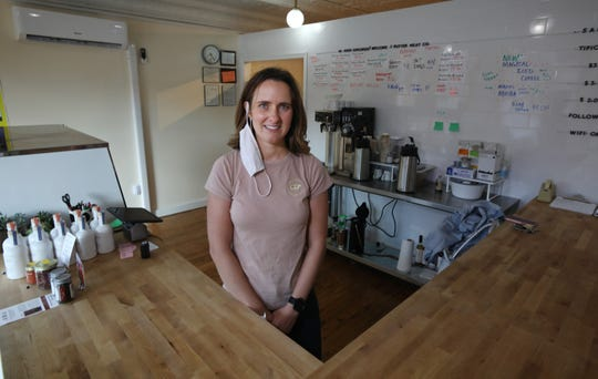 Jill Gould, owner, behind the counter at her Butter Meat Co. shop located at 1 N. Main Street in the village of Perry Wednesday, August 5, 2020. The shop features locally sourced, organic beef.