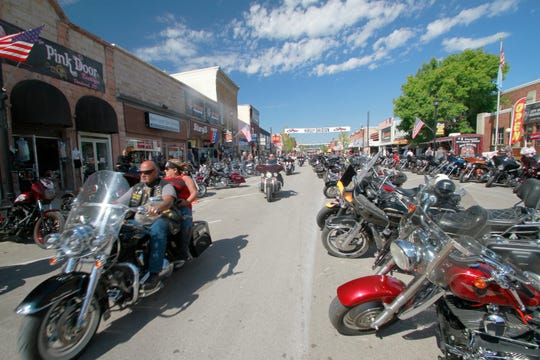 Thousands of bikers rode the streets in Sturgis, SD on the opening day of the 80th annual Sturgis Motorcycle Rally on Friday, August 7, 2020