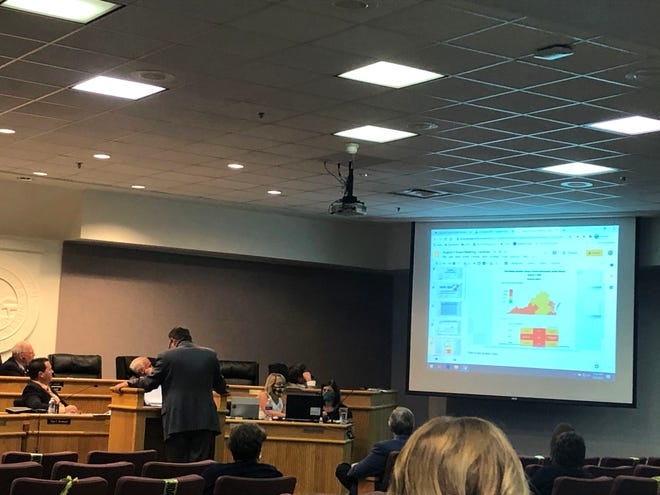 Eric Bond, the superintendent of Augusta County Public Schools, talks about health data with the school board Thursday night, Aug. 6.