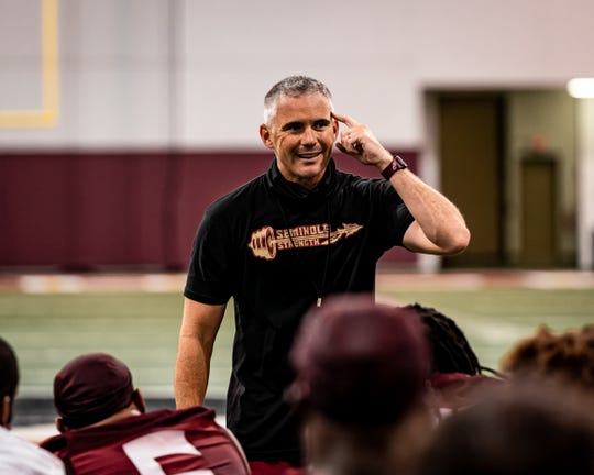 Florida State coach Mike Norvell addresses his team on during his team's preseason camp last month.