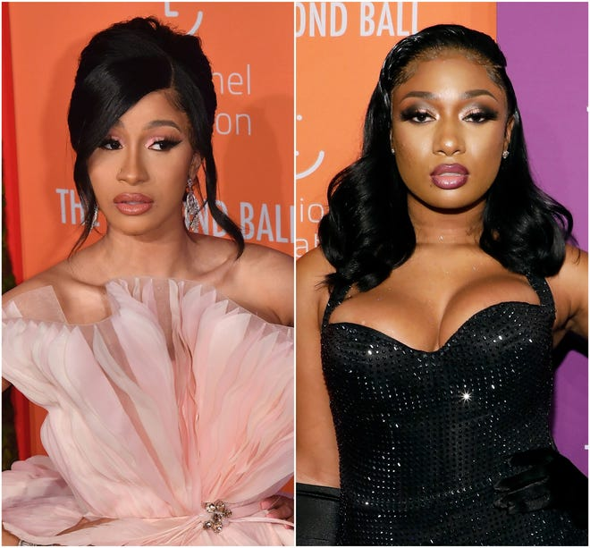 """Cardi B, left, and Megan Thee Stallion's """"WAP"""" is the biggest hit song of 2020."""