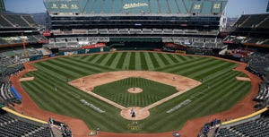A general view of play between the Oakland Athletics and the Texas Rangers at Oakland-Alameda County Coliseum on Aug. 6.