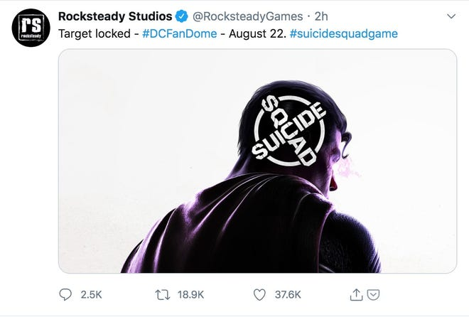 A screenshot of a tweet from studio Rocksteady Studios teasing a Suicide Squad video game.