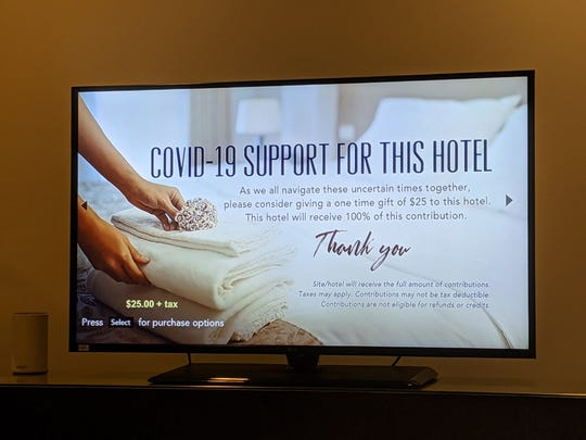 Hotels are not hosting as many guests during the coronavirus pandemic— though one guest was surprised to see a solicitation for donations to the hotelin his Hyattroom earlier this week.