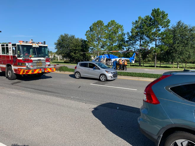 Scene of Palm Valley Road crash between a motorist, two bicyclists. [St. Johns County Sheriff's Office]