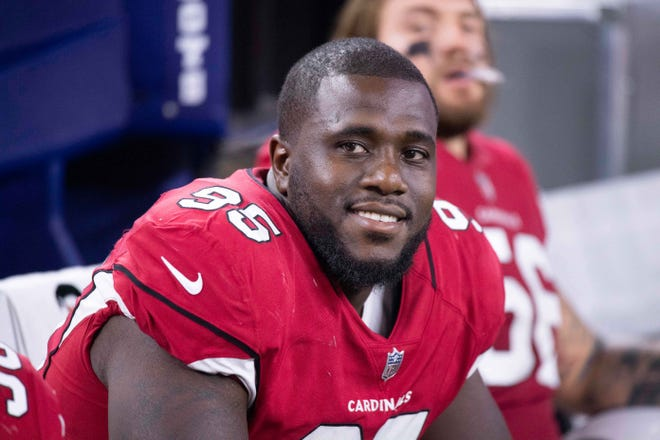 Jaguars defensive tackle Rodney Gunter, pictured with the Arizona Cardinals in 2018, announced his retirement from the NFL on Sunday night. [Jerome Miron-USA TODAY Sports]