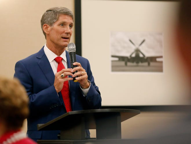 Scott Franklin, Republican candidate for U.S. House District 15,  speaks during the Republican Women's Club of Lakeland Federated meeting at the Hilton Garden Inn in June. [PIERRE DUCHARME/THE LEDGER]