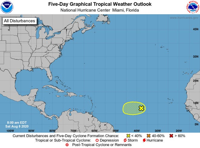 The latest five-day weather outlook for the Tropics as of Aug. 8, 2020.