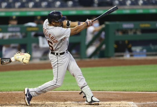 The third founder of the Detroit Tiger, James Candelario, 46, singled against the pirate Pittsburgh Games during the fifth inning at PNC Park on Friday, August 7, 2020.