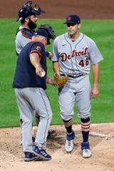 Detroit Tigers starting pitcher Matthew Boyd (48) leaves the stone after giving the ball to manager Ron Gardenhire after giving up a triple house run to Pittsburgh Pirates' Phillip Evans in the fifth fifth of a baseball game, Friday, August 7, 2020 , in Pittsburgh.  (Photo by AP / Keith Srakocic)