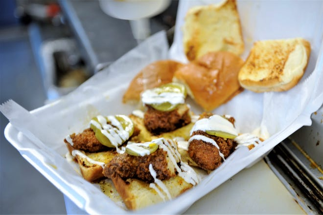 Nashville Hot Sliders from the Trappin Chick'n truck in Henderson, Ky. on  Thursday evening, Aug. 6, 2020.