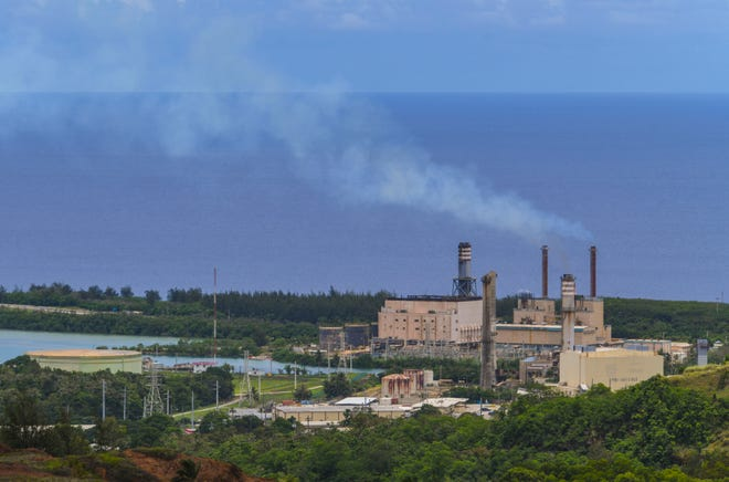 Smoke can be seen being emitted from stacks of Guam Power Authority plants in Piti as power is generated for use by island businesses and residents on Saturday, Aug. 8, 2020.